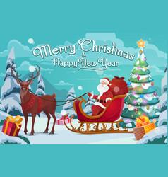 santa claus on sleigh and polar deer christmas vector image