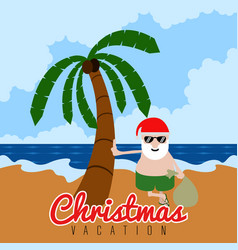 Santa on the beach christmas summer vacation vector