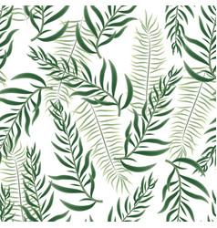 seamless white background with green sharp leaves vector image