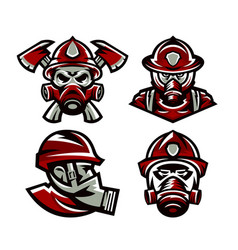 Set colorful logos fire department fireman vector