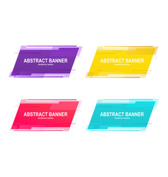 Set geometric promotional banner stickers with vector