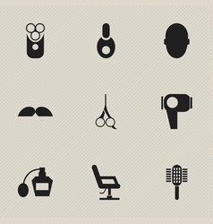 Set of 9 editable hairstylist icons includes vector