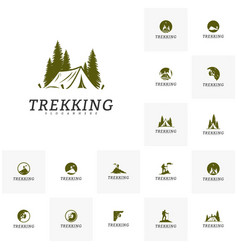 set of outdoor activity symbol logo camping vector image