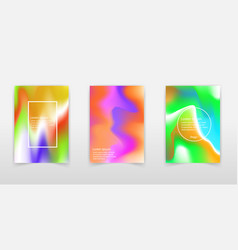 set of poster with color vibrant gradient vector image