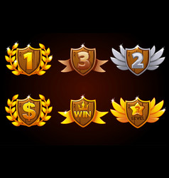shield set awards or icons objects vector image