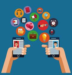 smartphones and social media vector image