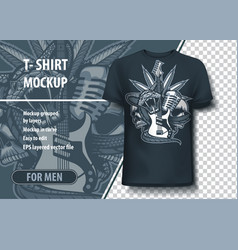 Snake wrapped guitar with skulls and a microphone vector