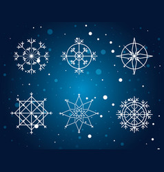 snowflakes set of decorative christmas vector image