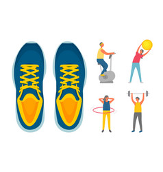 sporty people exercising sneakers isolated vector image