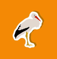 Stork paper sticker on stylish background vector