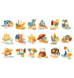 summer party logo template set beach holiday vector image