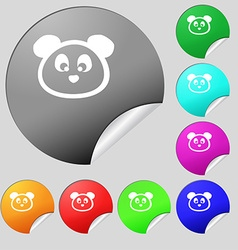 Teddy Bear icon sign Set of eight multi colored vector image