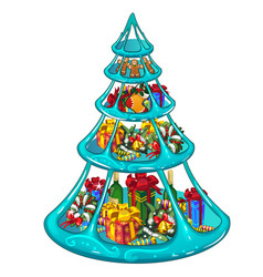 Tiered ice tray with christmas gifts sweets and vector