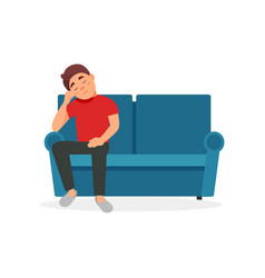 tired man sitting on the sofa vector image