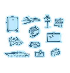 travel objects stickers stickers set isolated on vector image