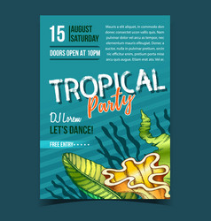 tropical leaf seaweeds and shell banner vector image