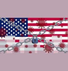 Usa flag with outbreak deadly coronavirus vector
