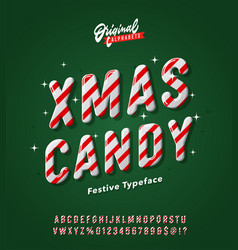 vintage striped christmas candy alphabet vector image