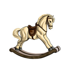 vintage wooden rocking horse toy colored drawing vector image