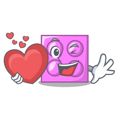 With heart toy brick mascot cartoon vector