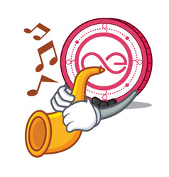 With trumpet aeternity coin mascot cartoon vector