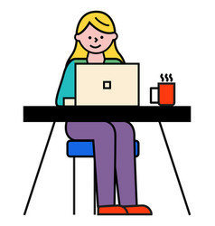 woman working on laptop student typing on pc vector image