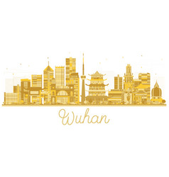 Wuhan china city skyline silhouette with golden vector