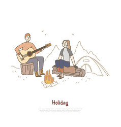 young couple sitting together campfire man vector image