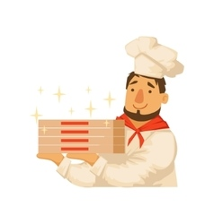 Chef Holding Pile OF Pizza BoxesPart Of Italian vector image vector image