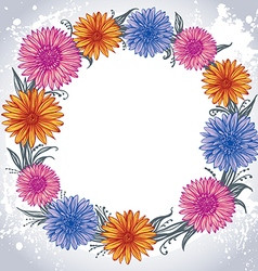 colorful flowers laid out in a circle vector image