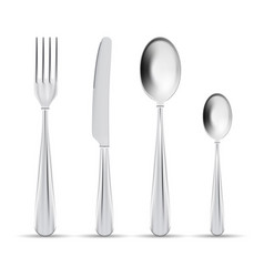 cutlery set of silver forks spoons and vector image
