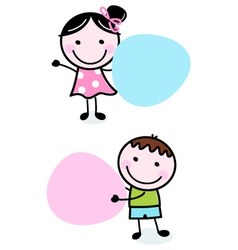 Doodle boy and girl holding blank banners vector image