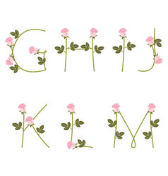 Floral alphabet Pink roses from G to M vector image vector image