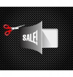 metal discount coupon with scissors vector image
