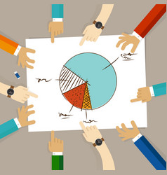 pie chart team work on paper looking to business vector image vector image