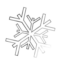 sketch draw snowflake cartoon vector image vector image