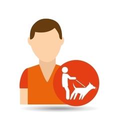 character pet training dog walk vector image vector image