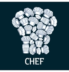 Chef toque label in shape of cook hats vector image vector image