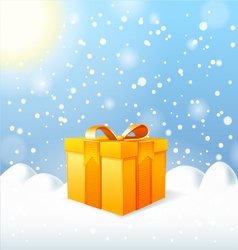 Christmas Greeting Card gift box vector image