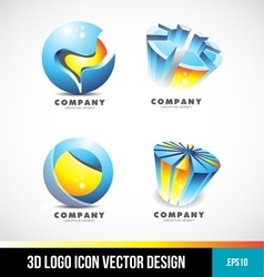 Corporate business sphere pie chart 3d logo vector image vector image