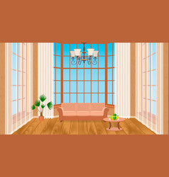 living room interior with big windows modern vector image vector image