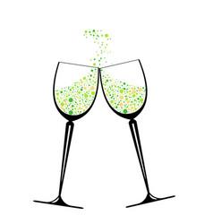 confetti in glasses vector image vector image
