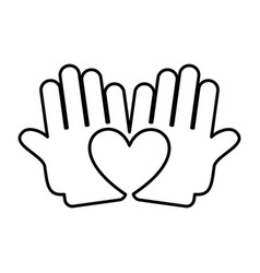 hand human with heart silhouette isolated icon vector image