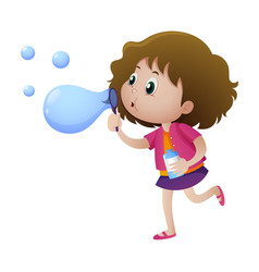 little girl blowing bubbles vector image