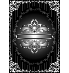 Silver frame with openwork decor on striped black vector image