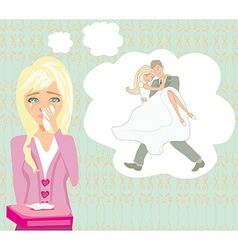 girl crying dreams of getting married vector image vector image