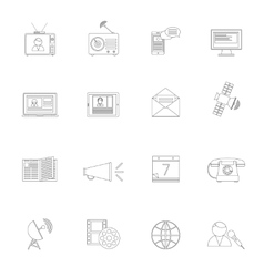 Media icons outline set vector image vector image