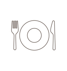 plate with fork and knife vector image