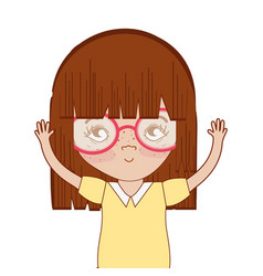 Pretty girl with hands up and glasses vector