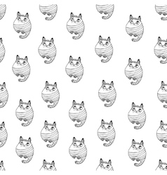 Seamless pattern with hipster cute cats vector image